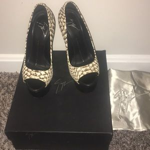Giuseppe Zanotti peep toe high heels.